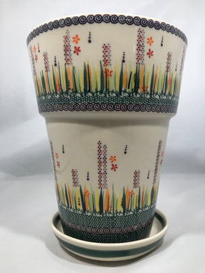 Tall Flower Pot - Fire Grass