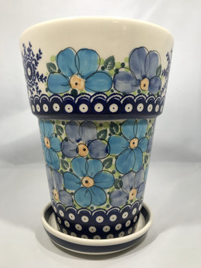 Tall Flower Pot - Blue Poppy