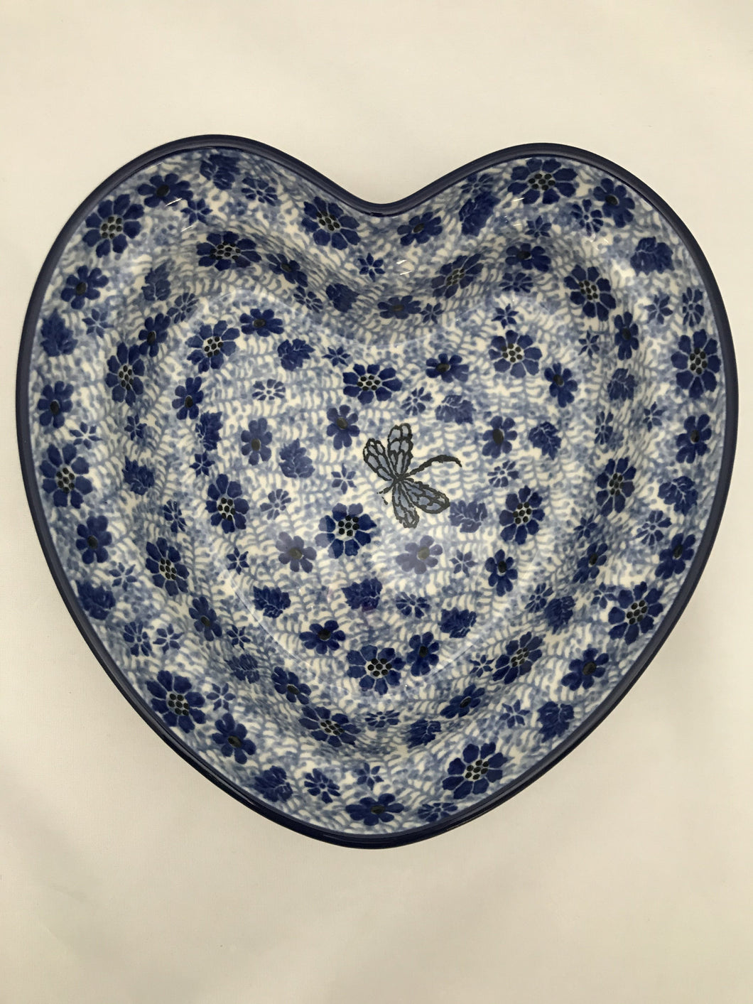 019 Heart Shaped Bowl - 1443 Hidden Dragonfly