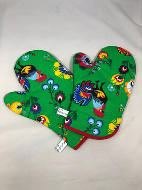 Oven Mitts Green Rooster