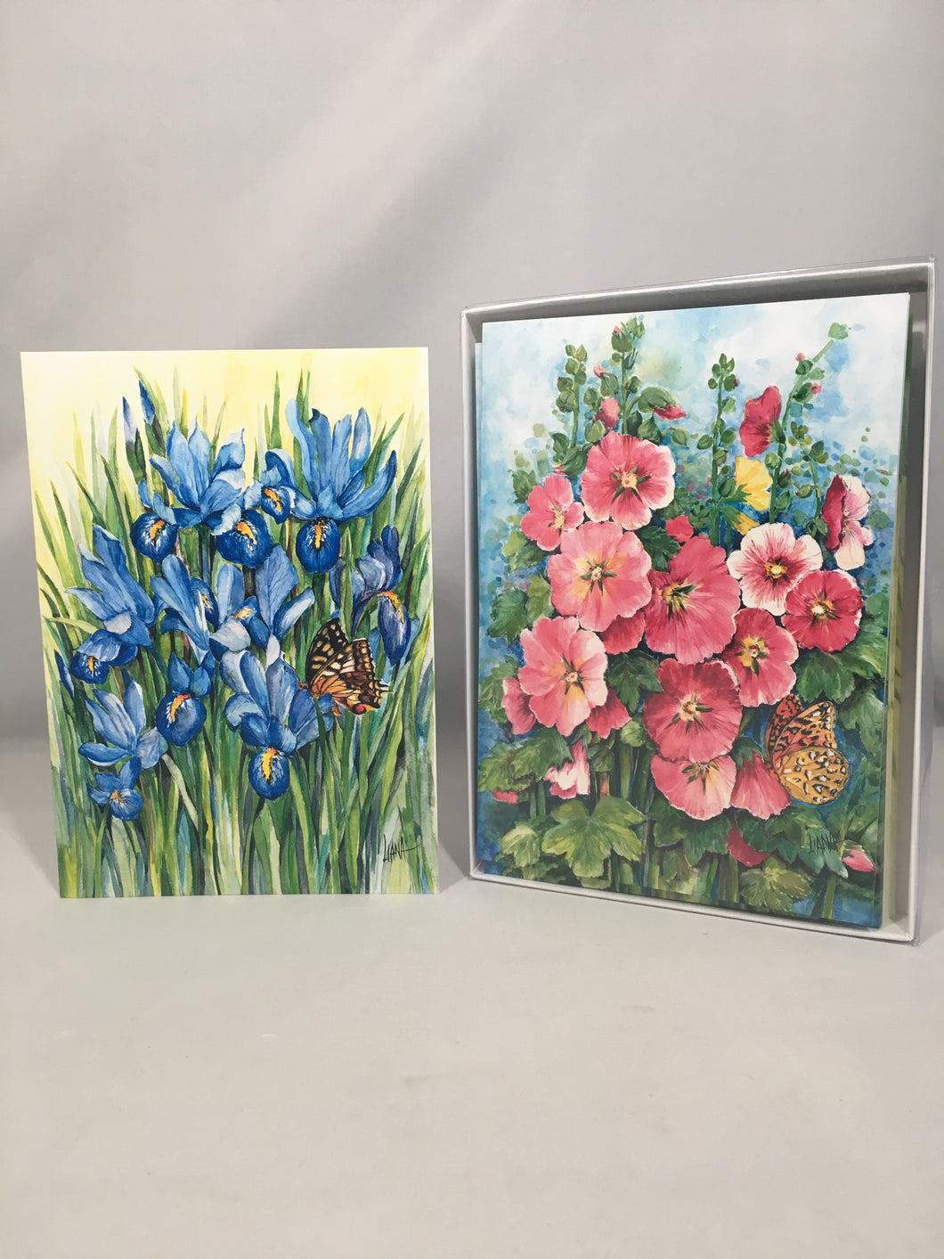Teresa Liana Art Series: Set of 12 Cards Iris an Poppy