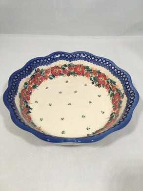 Ruffled Bowl - Red Wreath