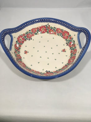 Large Bowl with Handles - Red Wreath