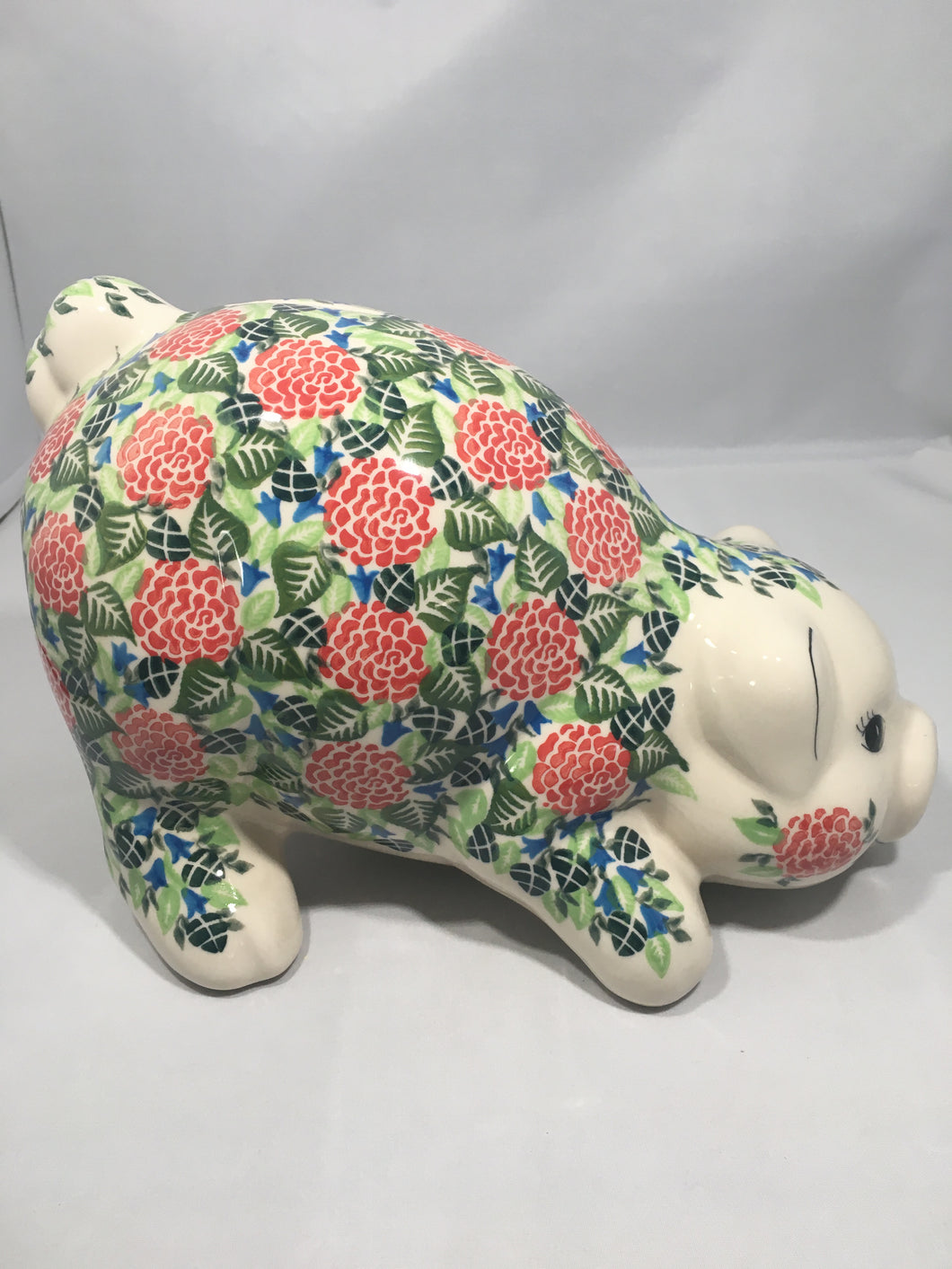 Large Piggy Bank- Red Rose