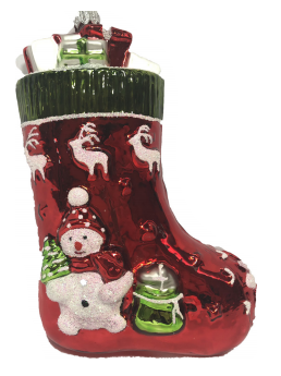 Red Snowman Stocking ornament
