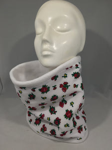 Neck Warmer White with Red Flowers (Child)