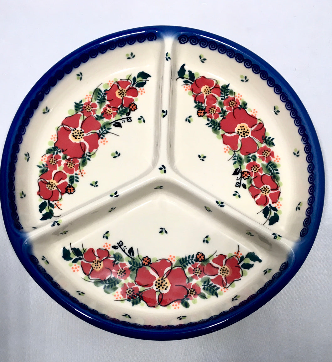 Divided Plate- Unikat Red Wreath