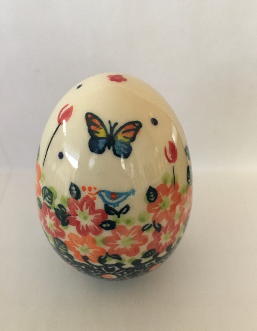 Galia Ceramic Egg- Orange Butterfly