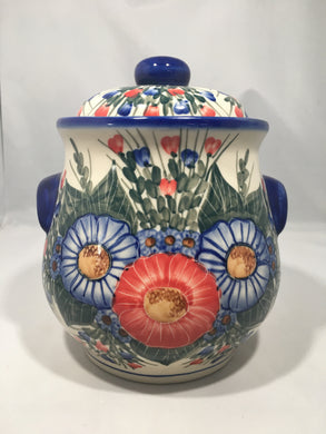 Large Round Cookie Jar- Triple Flower