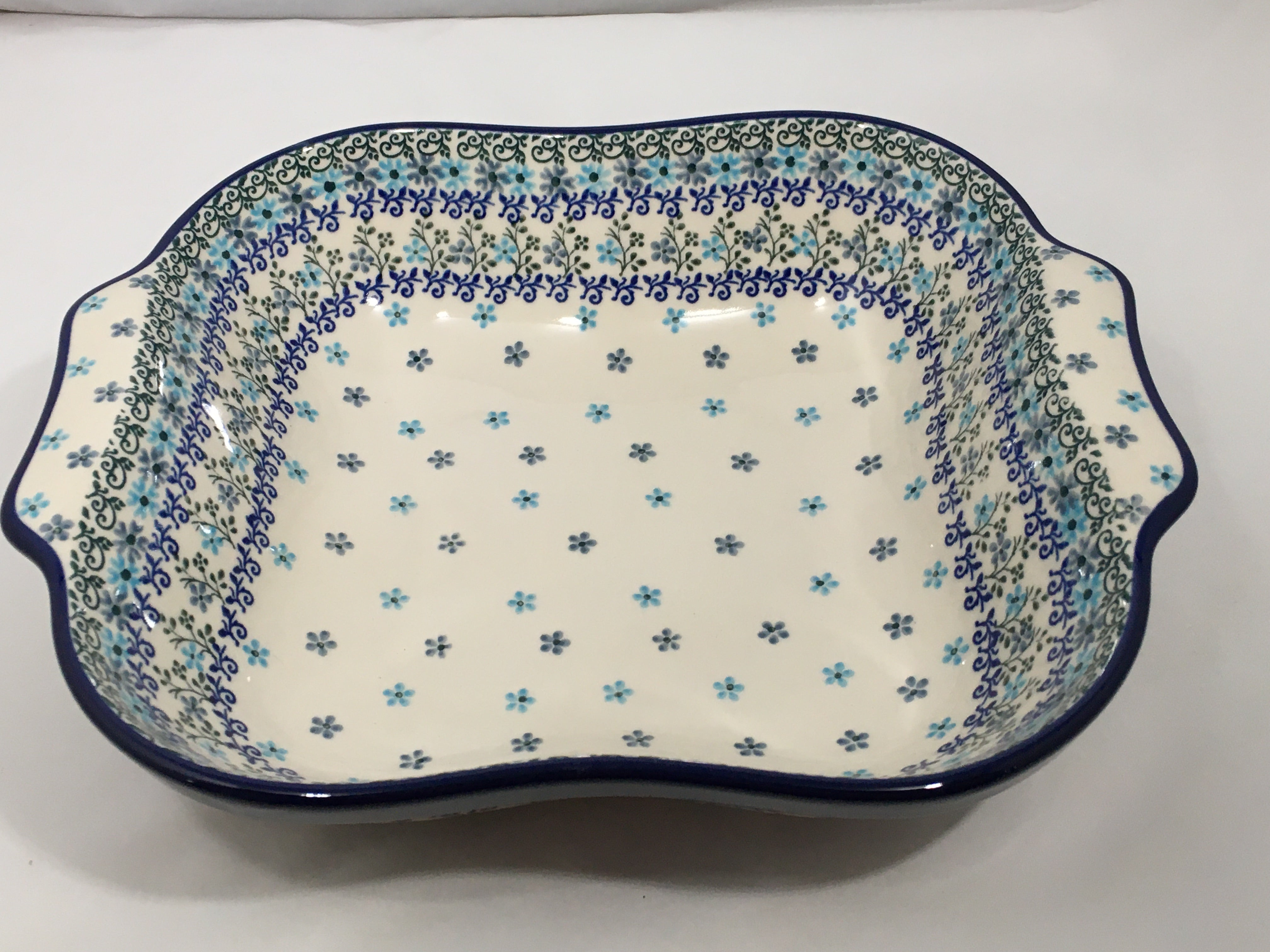 Bowl ~ Square w/ Handles ~ Icicle