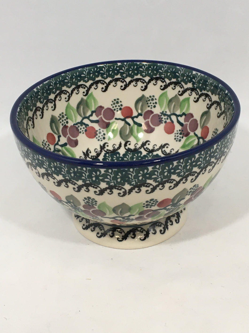 Bowl w/Pedestal ~ 5.25W ~ Burgundy Berry Green