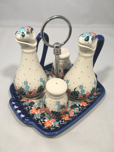Olive Oil and Salt and Pepper Shakers Set Spring Floral