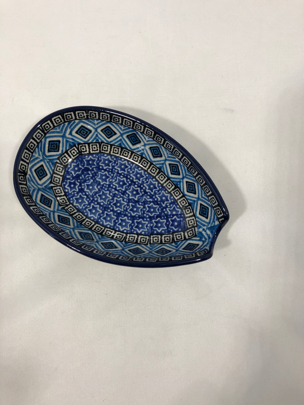 Spoon Rest ~ 3.25W x 5L ~ Blue Aztec