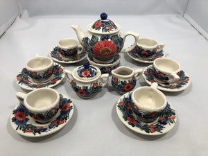 Mini Tea Set Red Blue Flower
