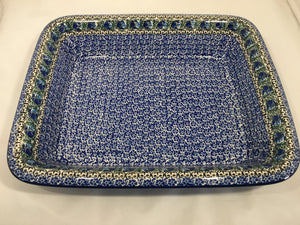 Baker ~ Rectangular w/Rim ~ Lasagna ~ 11.25 x 13.75 inch ~ Peacock Feather