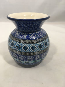 Vase ~ Bubble ~ 4.25 inch ~ Blue Aztec