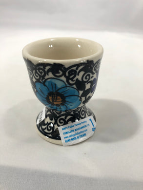 Egg Cup - Black Flower