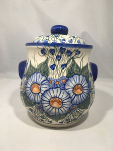 A211 Large Round Cookie Jar- Blue Flower