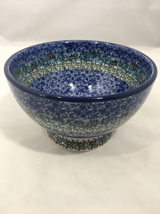 Bowl w/Pedestal ~ 5.25W ~ Blue Daze