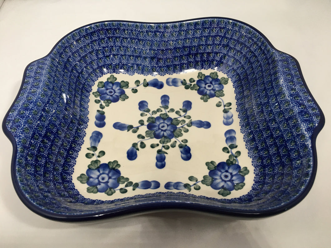 Bowl ~ Square w/ Handles ~ Blue Poppy