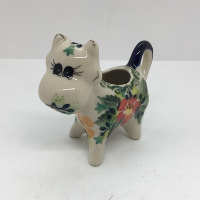 Cow Creamer-Peach and Red Flower M