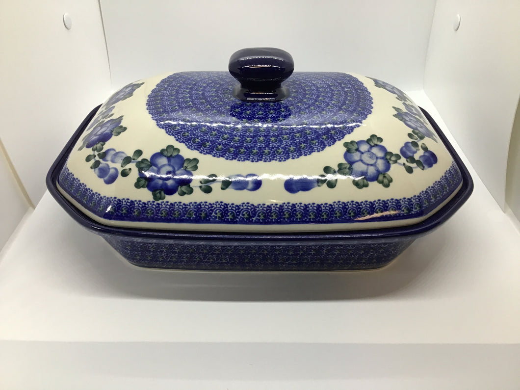 Baker ~ Covered Casserole ~ 9.5 x 12 inch ~ Blue Poppy