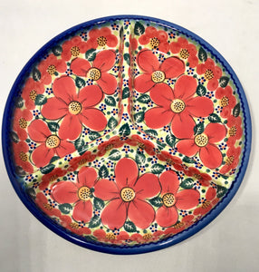 Divided Plate- Art Red Poppy