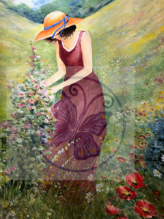 Teresa Liana Lady in the Field Watercolor Print