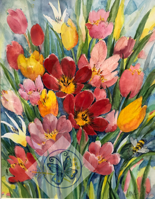 Teresa Liana Tulip Numbered Watercolor Print