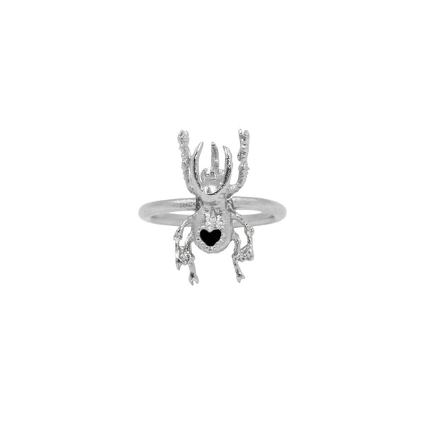 Baby Beetle Heart Ring Silver