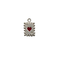 Single Heart Card Silver Charm