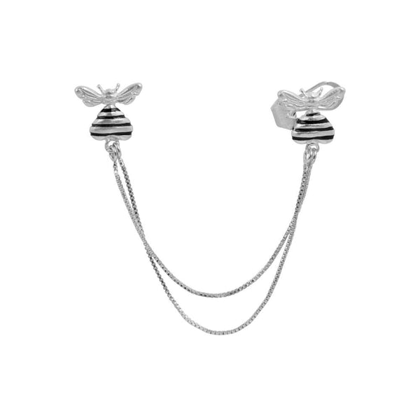 Bee Loved Earcuff Chain Silver