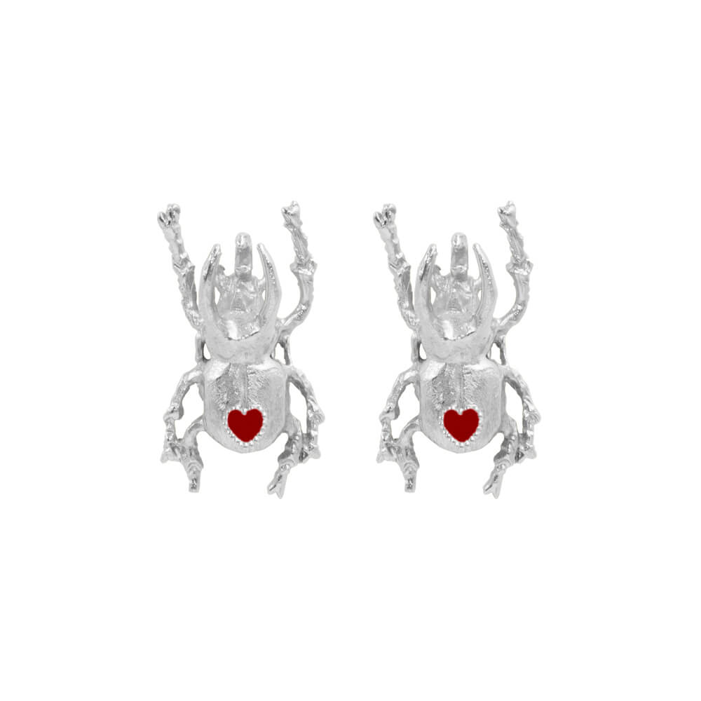 Beetle Heart Medium Studs Silver