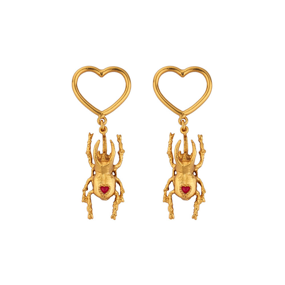 Beetle Single Heart Earrings
