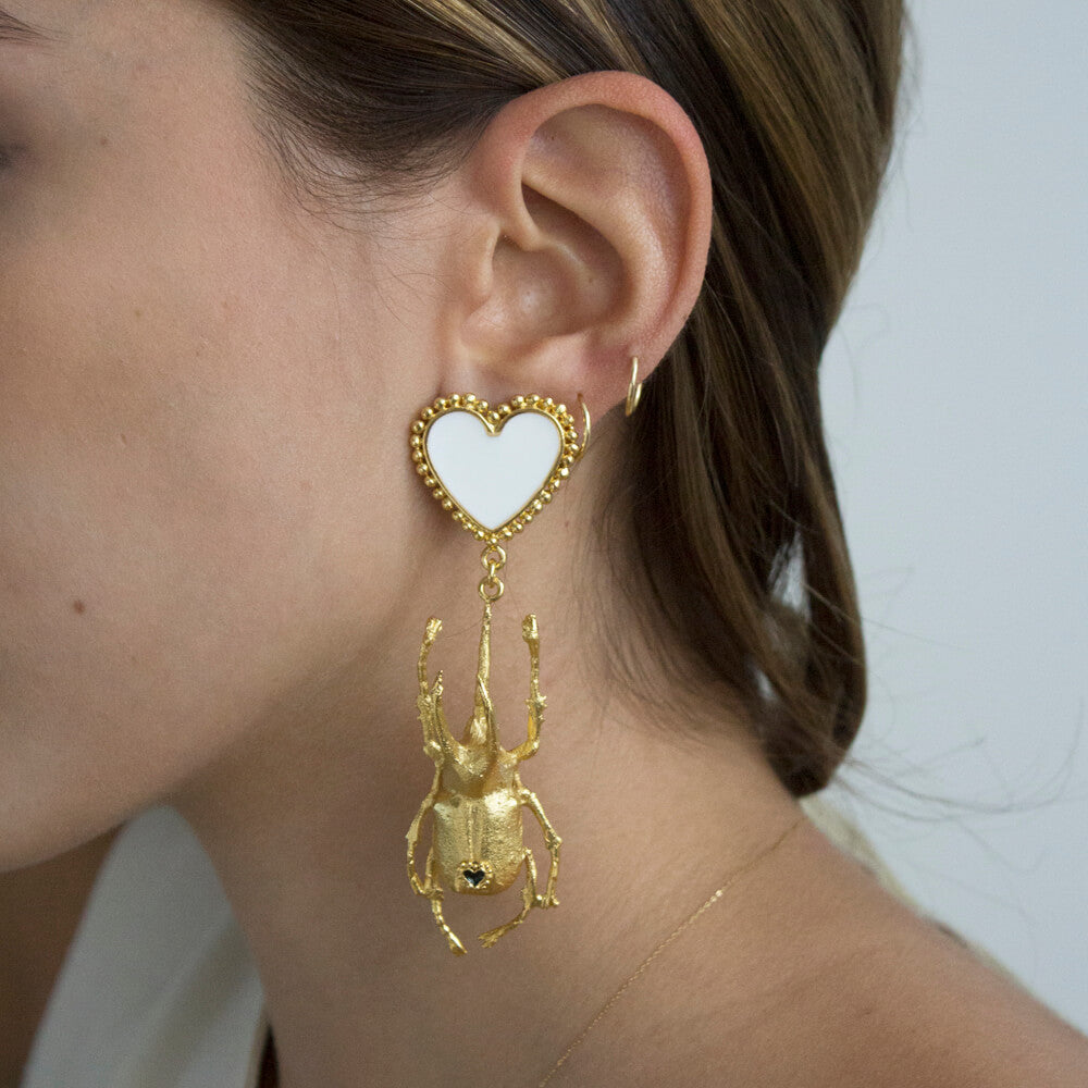 Beetle Double Heart Earrings