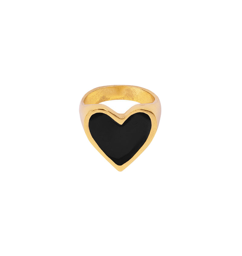 I Heart You Black Ring