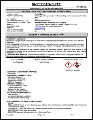 Safety Data Sheet - Wood Dust