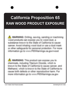 Prop_65 Lumber/Wood Product Warning Sign for New Regulation Operative 8/30/2018