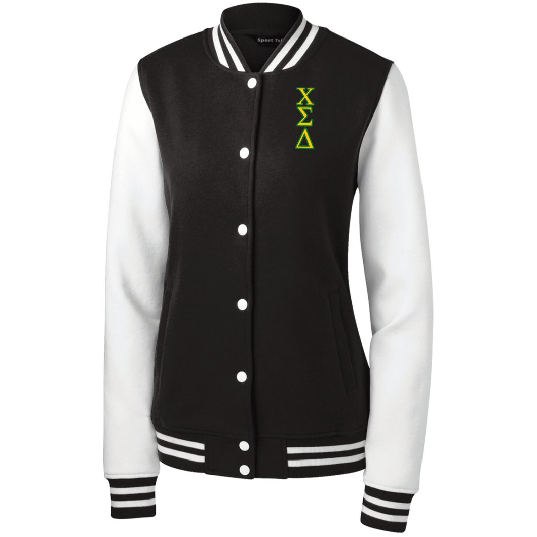 Chi embroidery Letters Women's Fleece Letterman Jacket