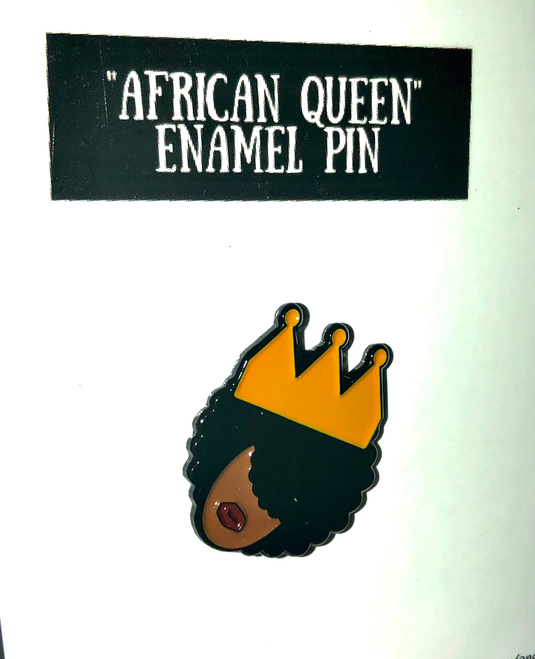 African queen enamel pin