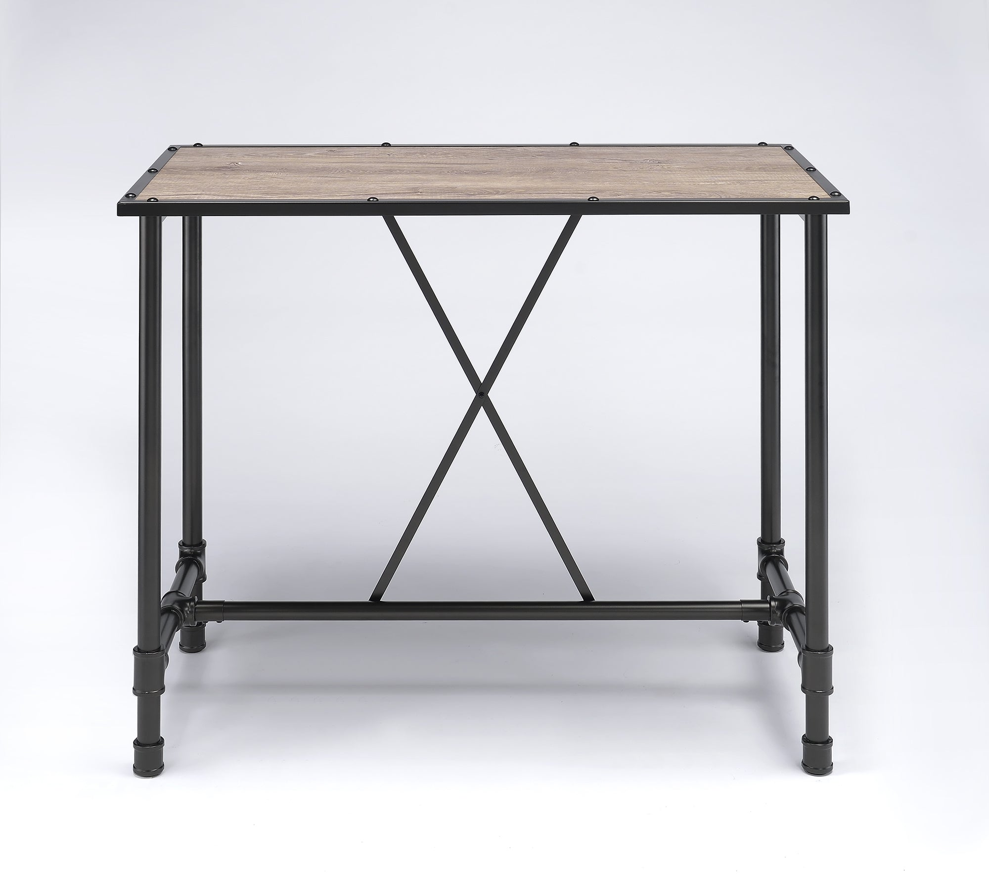 "23.5"" X 47.5"" X 41"" Oak And Black Bar Table"