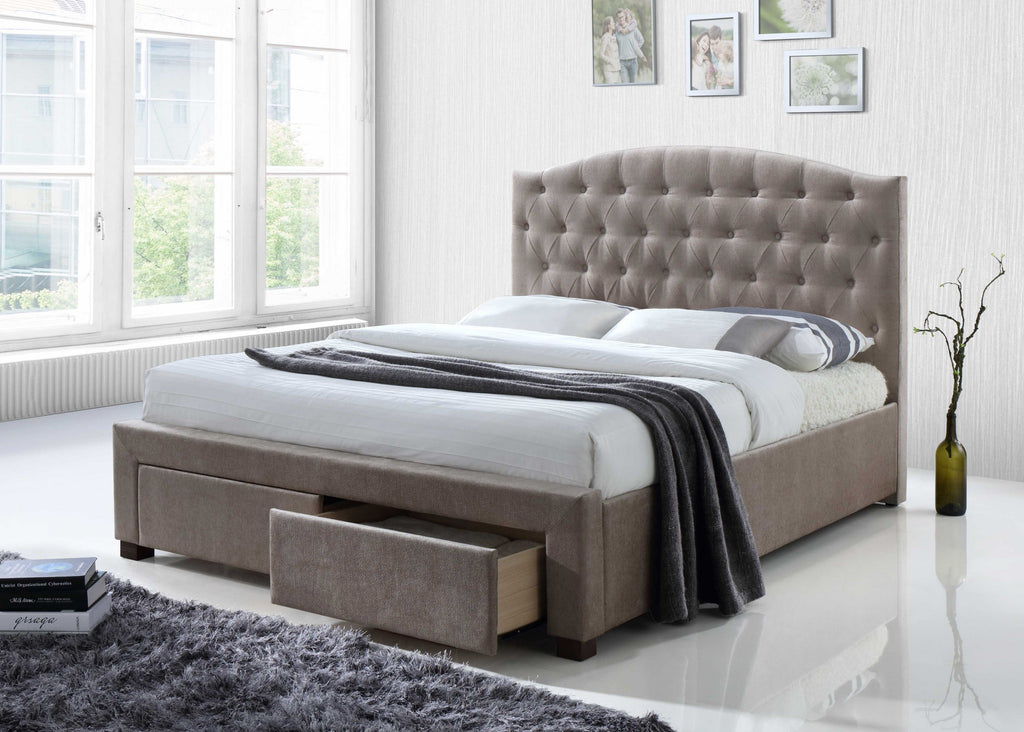 Mink Fabric Queen Bed With Storage Drawers