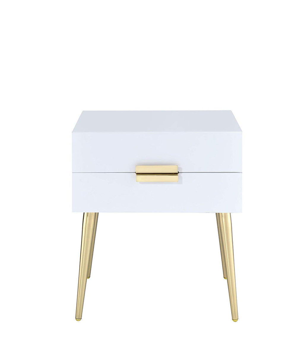 "20"" X 16"" X 24"" White And Gold Metal End Table"