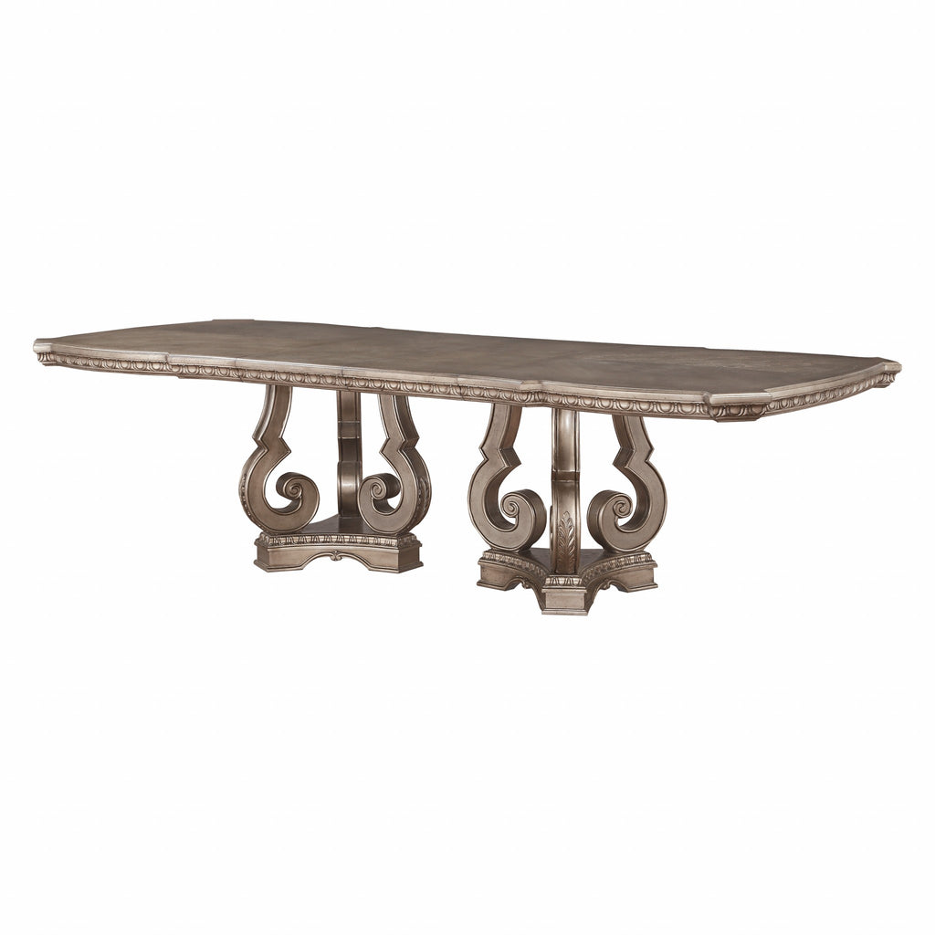 "76-112"" X 46"" X 30"" Antique Champagne Dining Table"
