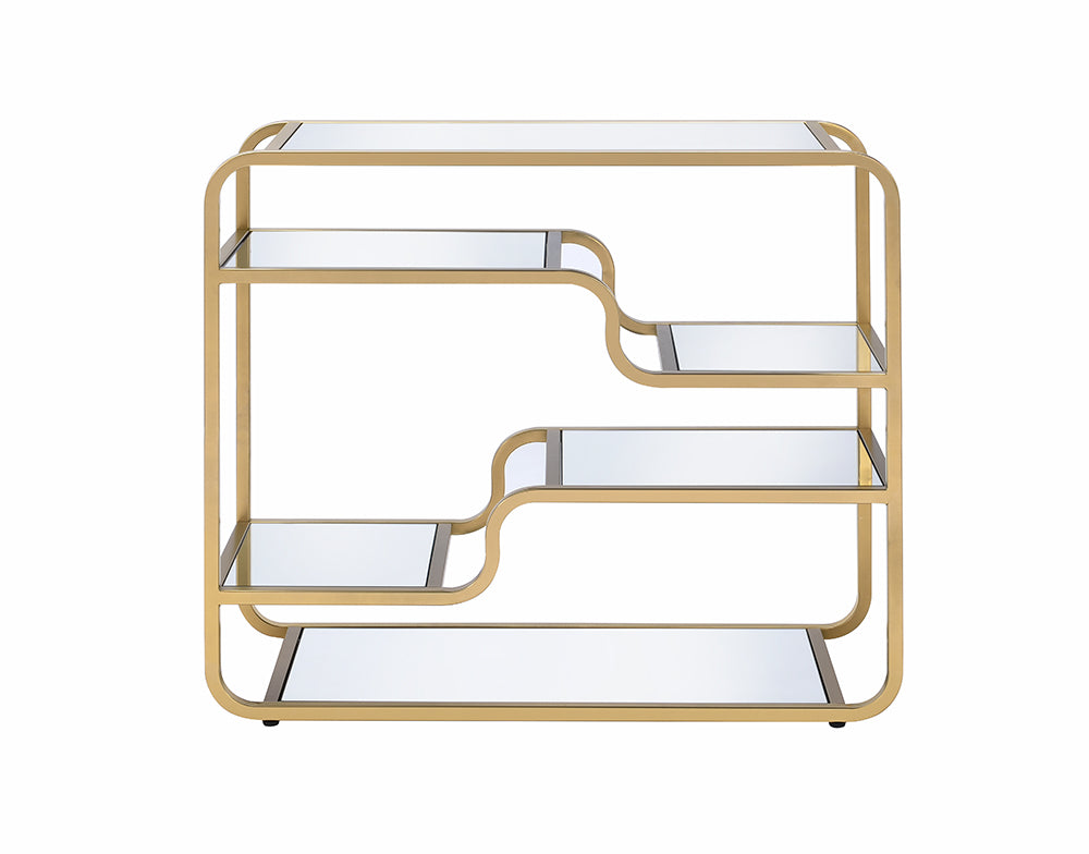 "36"" X 14"" X 31"" Gold And Clear Glass Bar Table"