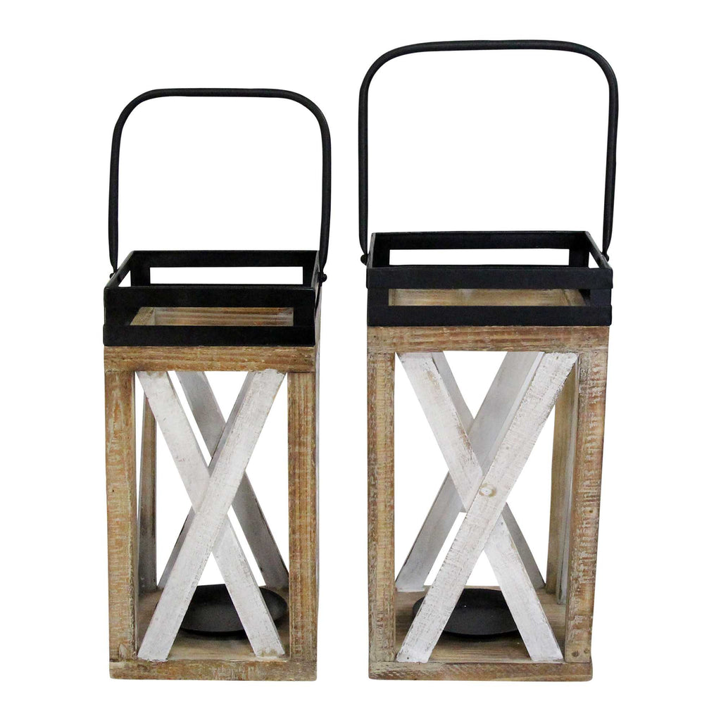 "7"" X 7"" X 20"" Multi Metal Wood Wood Lanterns"
