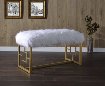 "18"" X 38"" X 21"" White Faux Fur Gold Metal Bench"