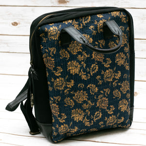 Navy Blue Floral Fabric Boho Backpack