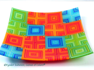 "Fused glass Plate ""Summer Waltz"""