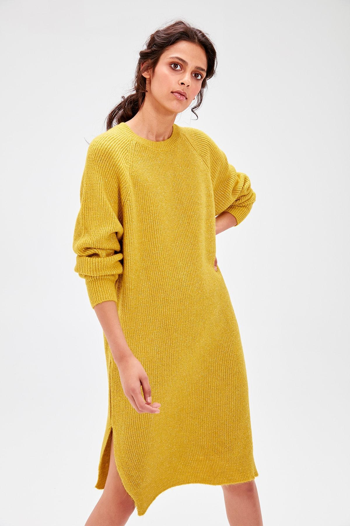 Trendyol Wome Yellow Sim Detailed Sweater Pullover Dress